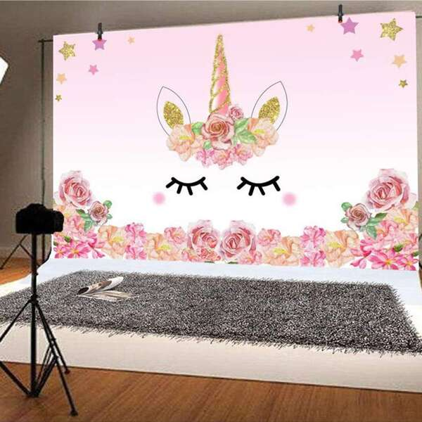 1pc Unicorn Print Decorative Background, Multicolor