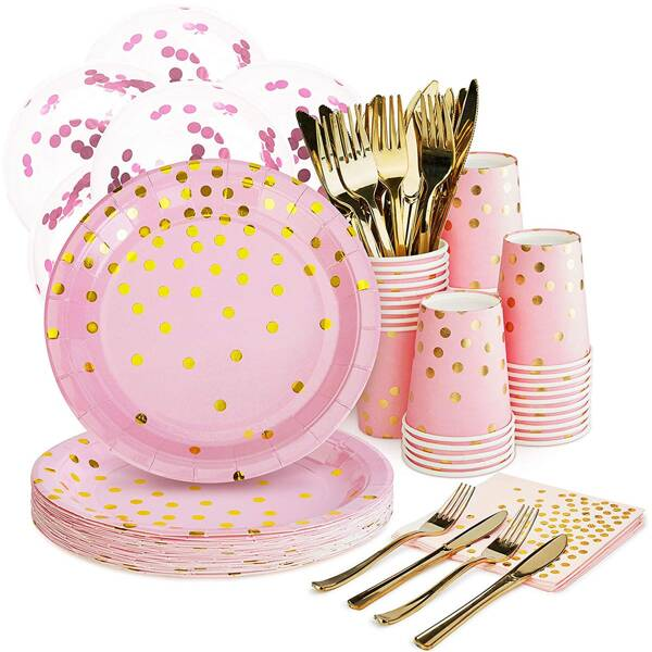 125pcs Disposable Party Cutlery Set, Pink