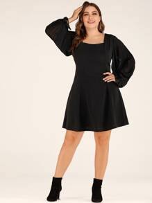 Plus Square Neck Flounce Sleeve A-line Dress