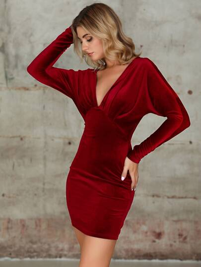 Double Crazy Plunge Neck Batwing Sleeve Velvet Bodycon Dress
