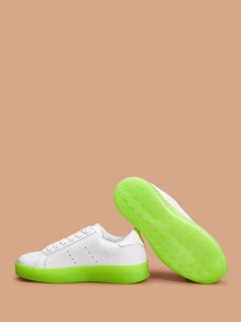Neon Lime Contrast Sole Lace-up Sneakers