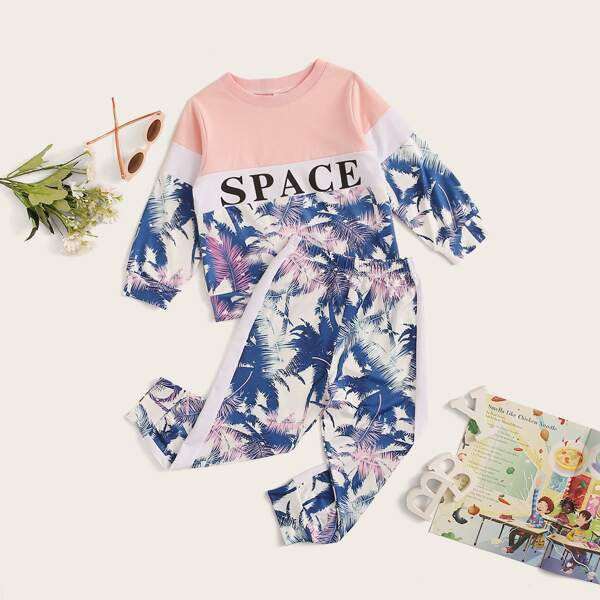 Toddler Girls Cut And Sew Tropical Print Sweatshirt With Joggers, Multicolor
