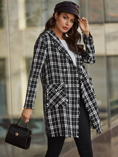 Plaid Frayed Edge Tweed Coat