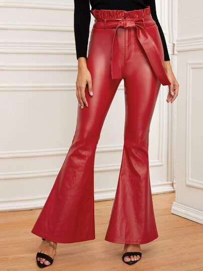 Coated Paperbag Waist Flare Leg Jeans