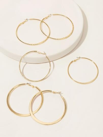 3pairs Simple Hoop Earrings
