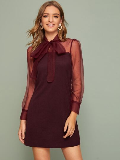Contrast Mesh Tie Neck Dress