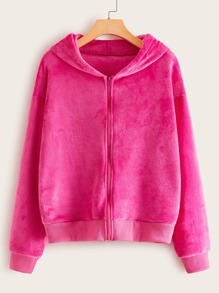 Neon Pink Zip Up Hooded Teddy Sweatshirt