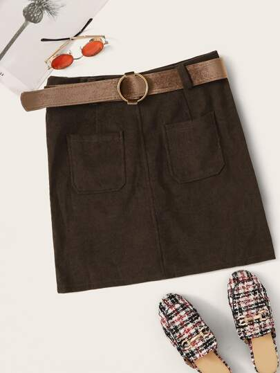 Solid Belted Corduroy Mini Skirt