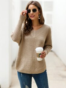 Solid V-Neck Raglan Sleeve Sweater
