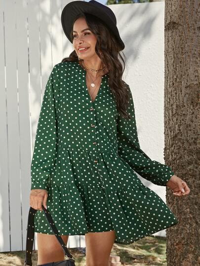Polka Dot Button Front Babydoll Dress