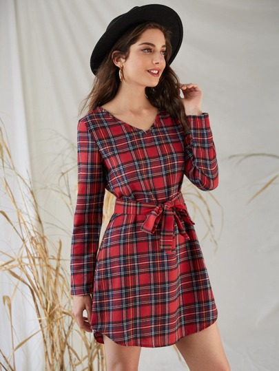 Tartan Print V-Neck Belted Dress
