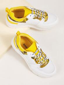 Contrast Snakeskin Print Chunky Sneakers