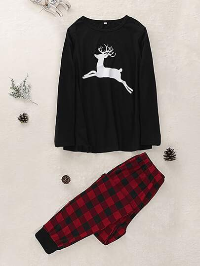 Christmas Print Tee With Buffalo Plaid Pants