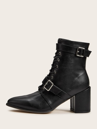 Lace-up Front Buckle Decor Chunky Boots