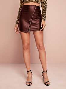 Zip Front Faux Leather Bodycon Skirt