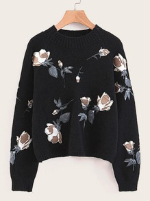 Floral Graphic Raglan Sleeve Sweater