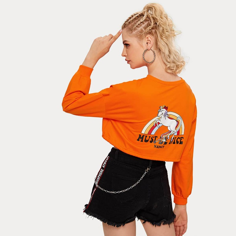 Neon Orange Cartoon & Letter Graphic Sweatshirt, Orange bright