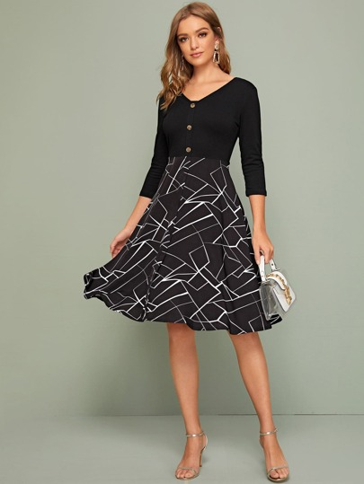 Geo Panel Button Front A-Line Dress