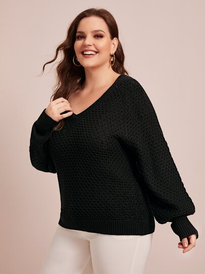 Plus Waffle Knit Raglan Sleeve Sweater