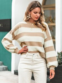 Simplee Striped Colorblock Drop Shoulder Fuzzy Sweater