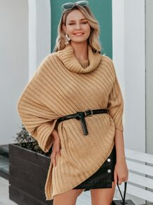 Simplee Cowl Neck Rib-Knit Poncho Sweater Without Belt