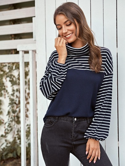 Contrast Striped Panel High Neck Tee