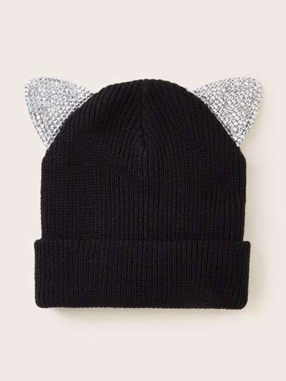 Rhinestone Engraved Ear Decor Knit Beanie