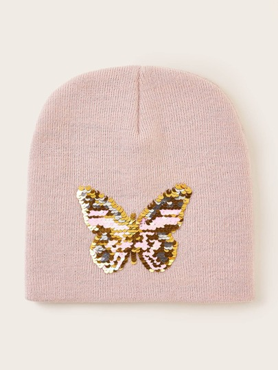 Butterfly Sequin Decor Knit Beanie