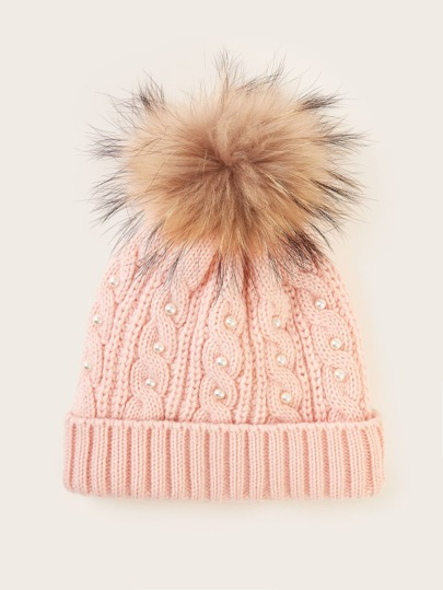 Faux Pearl Decor Braided Knit Beanie