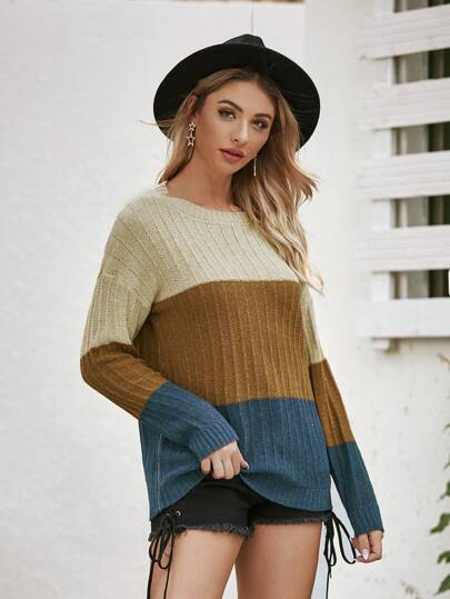 Color-Block Round Neck Sweater