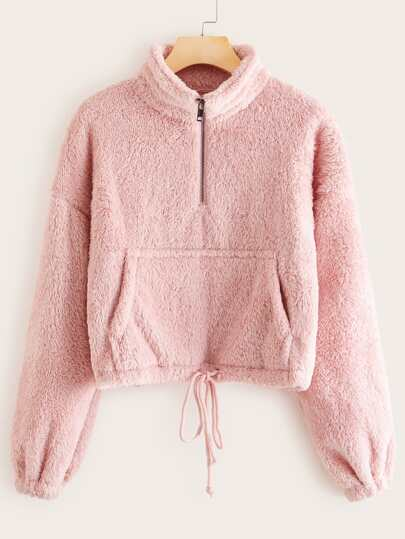 Solid Half Zip Drawstring Waist Teddy Sweatshirt