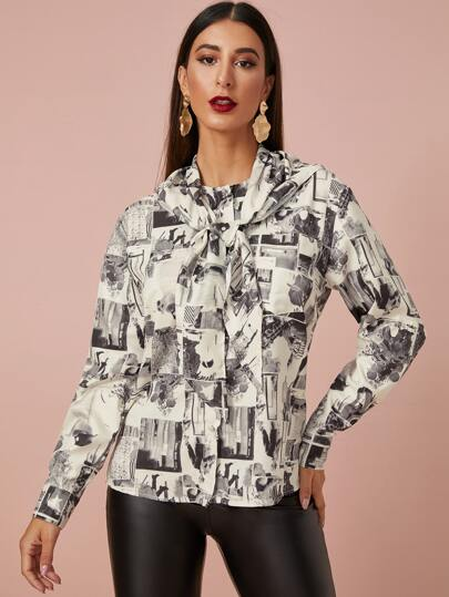 Graphic Print Button Up Blouse With Cape
