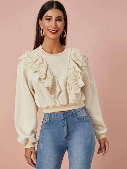 Solid Ruffle Trim Crew Neck Sweatshirt