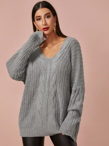Solid Cable-knit V-neck Oversized Jumper