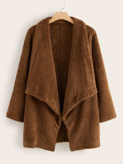 Plus Solid Teddy Waterfall Coat