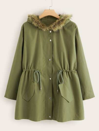 Plus Drawstring Waist Button Up Parka Coat