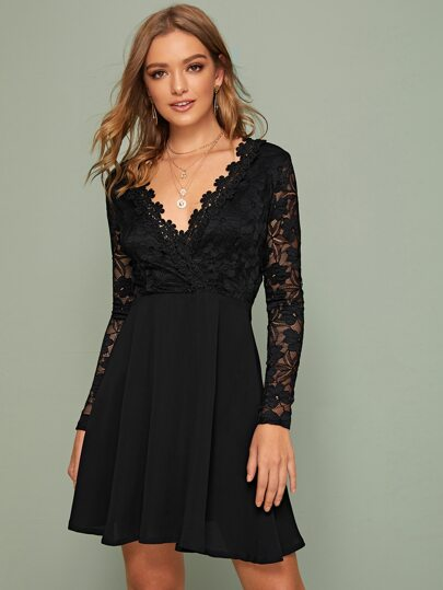 Contrast Lace Flare Hem A-line Dress
