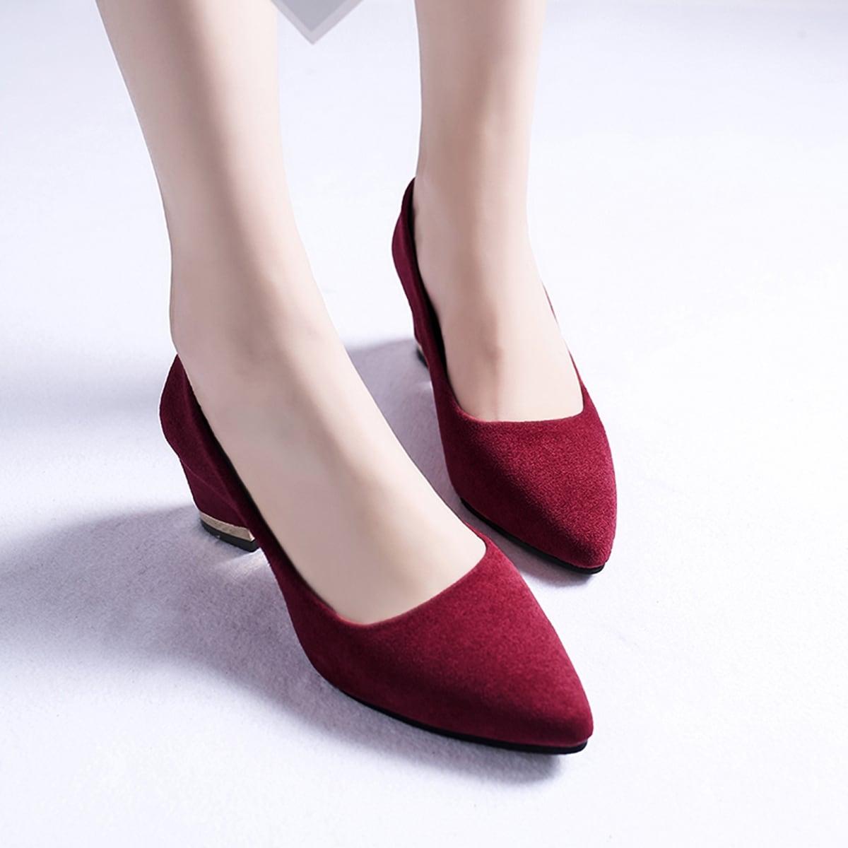 Красный Одноцветный Деловый стиль  Каблуки от SHEIN