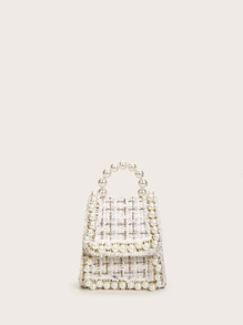 Mini Faux Pearl Decor Satchel Bag