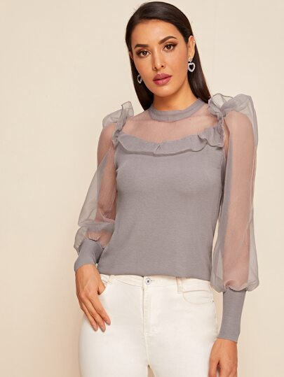 Contrast Mesh Sheer Puff Sleeve Lettuce Frill Trim Top