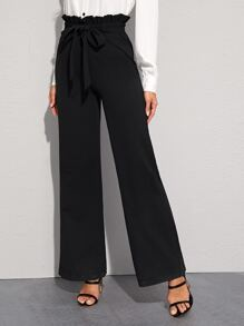Paperbag Waist Self Belted Straight Leg Pants
