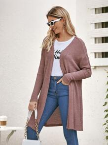 Solid Waffle Knit Open Front Cardigan