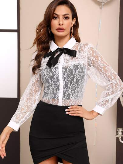 Tie Front Sheer Lace Blouse Without Cami