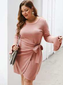Plus Tie Side Flounce Sleeve Solid Sweater Dress