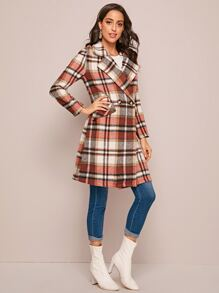 Notch Collar Plaid Pea Coat
