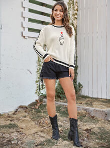 Heart Embroidered Ribbed Knit Sweater