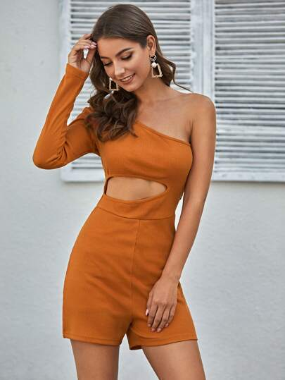 One Shoulder Cut Out Front Romper
