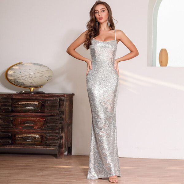 DKRX Backless Criss Cross Knot Sequin Bodycon Dress, Grey