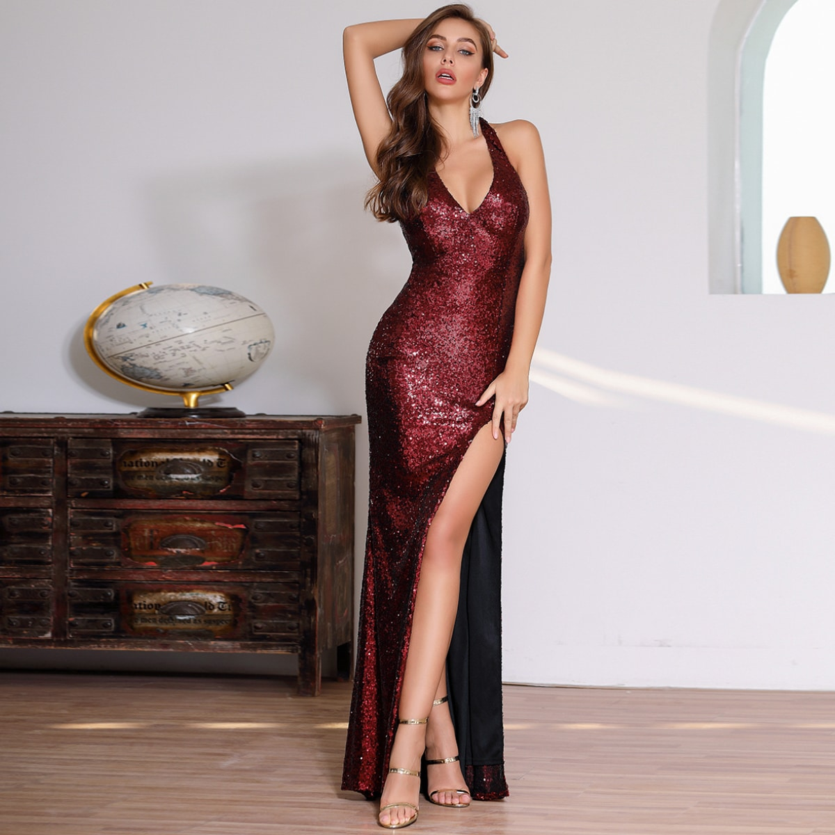 DKRX Halter Backless Split Thigh Sequin Dress