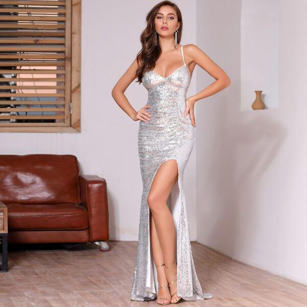 DKRX Backless Criss Cross Split Thigh Sequin Dress, Grey